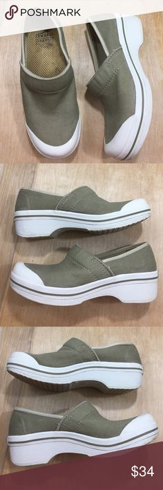 Dansko Vegan Clogs canvas Slip Resistant 37-6.5/7 Vegan dansko closed toe clogs. Overall great condition. No major visible wear. Slip Resistant great for work! Kind of a greenish khaki color. Dansko Shoes Mules & Clogs
