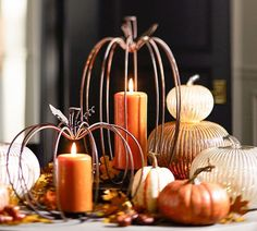 Wire Pumpkin Candle Holders - perfect decoration for September through Thanksgiving