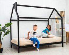 busywood on Etsy Toddler Trundle Bed, Toddler Floor Bed, Toddler House Bed, Bed Frame Plans, Bed Plans, House Beds For Kids, Kid Beds, Bedding Shop, Nursery Bedding