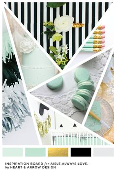 Mint gold and black color inspiration for Aisle Always Love