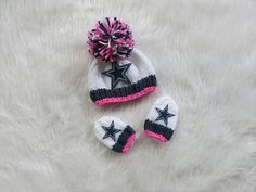 Dallas Cowboys Baby Girl Beanie Hat in Stark White with Dark Denim and PrettynPink Trim Brim with Matching Mittens, Size Newborn, Photo Prop on Etsy, $22.00