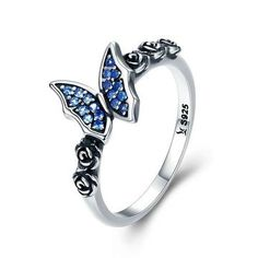 Rings for Women Girls 9, Blue Iuhan Elegant Fashion Women Crystal Silver Cubic Zirconia Band Ring Jewelry Gift