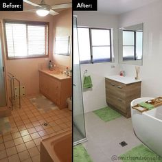 Complete bathroom renovation in Mackay! This renovation was completed  in 3 weeks!  It features a beautiful free standing tub and floor to…