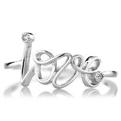 Joelle's Petite CZ and Cursive Love Promise Ring