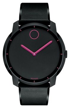 I think this is my new goal in life.....Movado black watch with hot pink dial