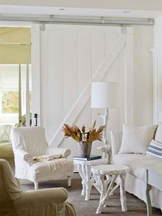 "Enlarge Space with White- Absolutely LOVE th sliding ""barn"" door !!"