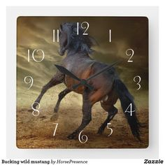 Bucking wild mustang square wall clock Andalusian Horse, Friesian Horse, Arabian Horses, Palomino, Blue Roan, Black Horses, Wild Mustangs, Clydesdale, Draft Horses