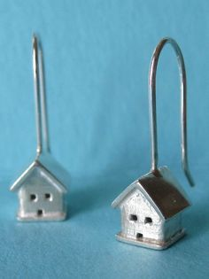 Tiny House Silver Earrings