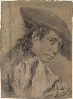 A Young Man in a Broad Hat, ca. 1745 - Giambattista Piazzetta (Venezia, 13 febbraio 1683 – Venezia, 29 aprile 1754) #TuscanyAgriturismoGiratola