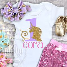 Trendy Unicorn Birthday Top Shirt Body Suit Customizable With Name And Age For Years Old
