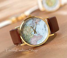 Unisex watches world map Men wristwatches Women watches Fashion Watches