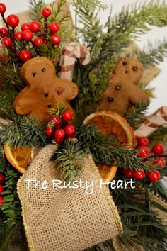 Gingerbread Lantern Swag by TheRustyHeart on Etsy Gingerbread Decorations, Christmas Decorations, Christmas Ornaments, Holiday Decor, Rustic Christmas, Lanterns, Swag, Reusable Tote Bags, Create