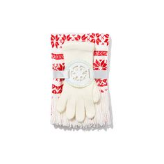 Scarf & Glove Gift Set - Fair Isle ($16) ❤ liked on Polyvore featuring accessories, scarves, print scarves, new york & company, fringed shawls, patterned scarves and fringe scarves
