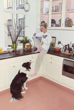Inside Model and Filmmaker Emma Leth's Art- and Fashion-Filled Home in Copenhagen Handmade Bed Linen, Küchen Design, Interior Design, Dining Room Walls, Copenhagen, Decoration, Home And Family, Sweet Home, New Homes