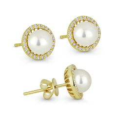 14k Yellow White Gold Fancy Round Stud Earrings Diamond Cut Polished Two Tone