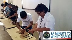 SAMWUMED Minute To Win It team building event in Cape Town, facilitated and coordinated by TBAE Team Building and Events Team Building Events, Team Building Activities, International Games, Minute To Win It Games, Hands In The Air, Flipping