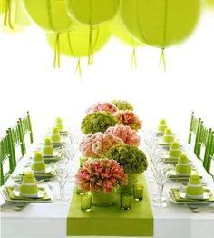 pink and green bouquets (Jeff Leatham design) Table Arrangements, Flower Arrangements, Floral Arrangement, Something Borrowed Wedding, Jeff Leatham, Green Table, Pink Table, Festa Party, Party Party