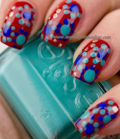 Latest Screen Nail Art Red base Style Claws made use of to return within some colours. Red, crimson and also red. Oh yea, as well as let u Polka Dot Art, Dot Nail Art, Polka Dot Nails, Mani Pedi, Manicure And Pedicure, Love Nails, Fun Nails, Nail Polish Online, Nail Envy