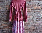 upcycled sweater dress in salmon with delicate floral linen tapestry   $55.00 rebirthrecycling.etsy.com