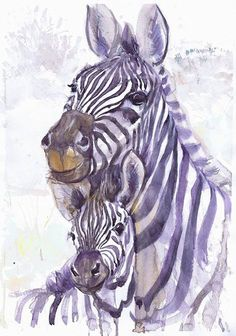 Zebra art, original watercolor, zebra with a toddler, zebra painting, zebra baby, nursery decor, mom gift, children art, Illustration