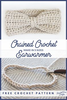 Chained Ear Warmer - Free Crochet Headband Pattern for Beginners in FIVE sizes! Click to make now or Pin to make later! rescuedpawdesigns.com