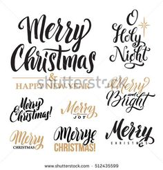 Merry Christmas AND Happy New Year Calligraphy Set. Greeting Card Design Set on White Background.
