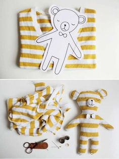 Operation Christmas Child Ideas - Make a teddy bear out of a t-shirt for your OCC shoe box! Fabric Crafts, Sewing Crafts, Sewing Projects, Diy For Kids, Crafts For Kids, Arts And Crafts, Softies, Easy Diy Projects, Craft Projects