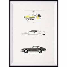 The James Bond Car Collection Print | Rear View Prints | Wolf & Badger