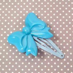 Sweet Lolita Kawaii Blue Bow Hair Clip Barrette by blacktulipshop, $3.00