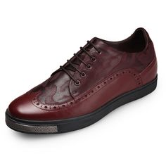 TopoutShoes - Chic Brogue Skateboarding Shoes Height Increasing 6cm / 2.4inch Wine Red - MEN_00342_02