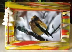 """Another Algonquin series 6"""" x 4"""" fused glass frame with amazing winter sunset effects."""