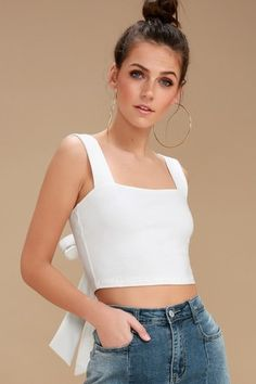 Everyday in the Sun in Acapulco White Tie-Back Crop Top is like a dream vacation! Super soft stretch knit shapes a cute, cropped bodice with a darling tie-back detail and thick straps. White Crop Top Tank, Cropped Tank Top, Crop Tank, Fancy Tops, Cute Crop Tops, Lush Clothing, Tunic Tank Tops, Fashion Pictures, Classy Outfits