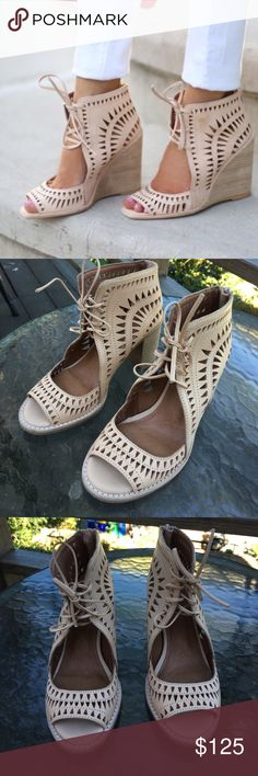 NWT Jeffrey Campbell Rodillo Hi Wedge Jeffrey Campbell Rodillo Hi Wedge brand new with tags, never worn, these are sold out everywhere. These are in the natural tan color Jeffrey Campbell Shoes Wedges