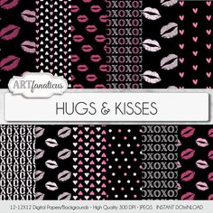 Love Digital Paper HUGS & KISSES lovable by Artfanaticus on Etsy  My backgrounds, textures, digital paper and clip art can be used for just about any project. Add some additional artistic style to your photo albums, photography projects, photographs, scrap booking, weddings, invitations, greeting cards, gift wrap, labels, stickers, tags, signs, business cards, websites, blogs, parties, events, jewelry & more.  For more digital papers, please visit Artfanaticus at…