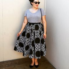 grey tee, Ankara printed midi skirt