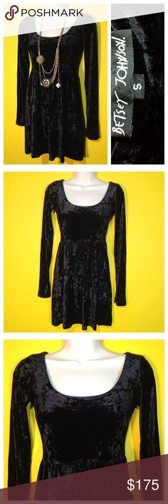 "Vintage '90s Betsey Johnson Velvet Dress, Sz XS/S A cool girl staple, layered with jewelry and a million different shoes.  FEATURES Great for travel, just fold and roll. Empire waist (Babydoll cut). Crushed velvet with lotsa stretch for a custom fit on top. Pullover style.  MEASUREMENTS Shoulders 13+"" Bust 29-36"" Empire waist 26-32"" Hips 44"" Length 28"" Sleeve Inseam 20.5""  CONTENT No tag but very thick and stretchy, black crushed velvet.  CONDITION Excellent! Betsey Johnson Dresses Long…"