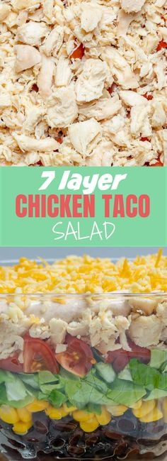 Make this Beautiful Seven Layer Chicken Taco Salad for Clean Eats! Make this Beautiful Seven Layer Chicken Taco Salad for Clean Eats! Taco Salad Ingredients, Layered Taco Salads, Full Fat Greek Yogurt, Seven Layer Salad, Layer Chicken, Food Crush, Chicken Tacos, Salad Chicken, How To Make Salad