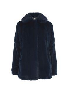 Karen Millen, FAUX FUR COAT Blue