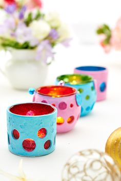 Use air-dry clay to make a set of colourful tealight holders / Crafts Beautiful November 2014