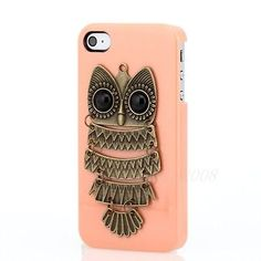 Pin 3D retro vintage Owl Hard Case Cover Skin Shell For iPhone 4 4G 4S +LCD Film
