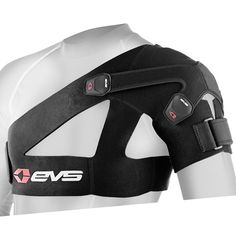 """EVS Designed to help rotator cuff Damaged and dislocated shoulders Made from vented neoprene """"Airprene"""" No restriction on range of motion Pulls arm into rotator cuff Same brace worn by Chad Reed, Mike Brown and Michael Byrne Works Right or Left Shoulder Support Brace, Shoulder Brace, Shoulder Armor, Shoulder Pads, Knee Compression Sleeve, Shoulder Injuries, Back In The Game, Neoprene, Sport"""