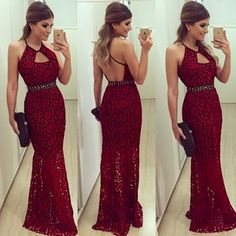 Halter Prom Dress, Lace Prom Dress, Backless Party