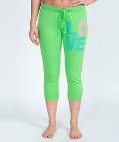 Look at this #zulilyfind! Bottoms Up Green 'Love' Capri Sweatpants by Bottoms Up #zulilyfinds
