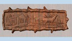 Elk Log Cabin Wood Sign Elk Sign Wood by TheWoodGrainGallery