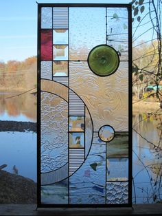 Stained Glass Rondel Geometric Panel by RenaissanceGlass on Etsy, $295.00