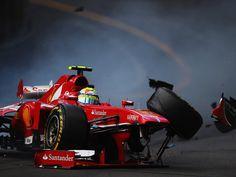 Felipe Massa crashes at St Devote - Monaco 2013