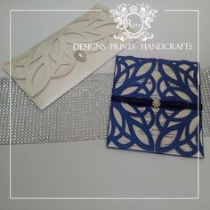 Clutch or Sleeve...Which do you prefer? Flourish lace cut Invitationssame cut... different layouts #radedph #lacecut #lasercut #invitations #cards #diamatepins #pearl #navy by rade.dph
