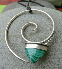 Malachite & Sterling Silver Spiral Pendant by betsyresnick on Etsy. via Etsy. Metal Clay Jewelry, Stone Jewelry, Wire Jewelry, Pendant Jewelry, Jewelry Art, Jewelry Crafts, Silver Jewelry, Jewelry Necklaces, Fashion Jewelry