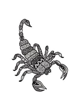 Zodiac zentangle scorpio Art Print