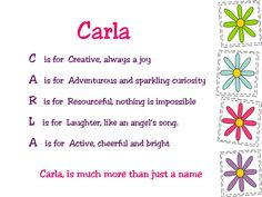 Acrostic Name Poems For Girls: Carla